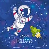 Groetkaart met astronaut Stock Foto's