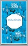 groetkaart met blauwe bloemen en teksten Stock Afbeelding