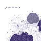 Groetkaart met bloemen Stock Afbeeldingen
