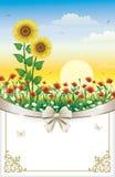 Groetkaart met bloemen en decoratieve boog royalty-vrije illustratie