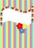 Groetkaart met bloemen en kleurrijke strepen Stock Afbeeldingen
