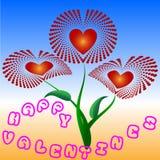 Groetkaart met bloemen op de Dag van Valentine ` s Royalty-vrije Stock Afbeeldingen