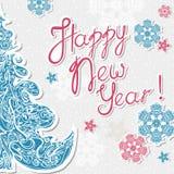 Groetkaart met brieven gelukkig nieuw jaar, veelkleurige sneeuwvlokken Stock Fotografie