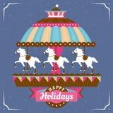 Groetkaart met carrousel Royalty-vrije Stock Fotografie