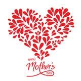 Groetkaart met de met de hand geschreven dag en het hart van teken Gelukkige Moeders Royalty-vrije Stock Fotografie