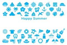 Groetkaart met de zomerpictogrammen Stock Fotografie