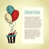 Groetkaart met een ballon, een gift en een tekstvakje Vector Royalty-vrije Illustratie