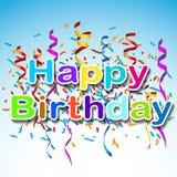 Groetkaart met een gelukkige verjaardag met confettien op een blauwe rug Royalty-vrije Stock Foto's
