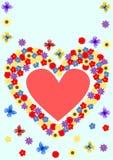 Groetkaart met een hart van bloemen Stock Afbeeldingen