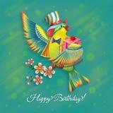 Groetkaart met een heldere vogel en een gift Stock Fotografie