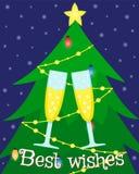 Groetkaart met een Kerstboom en glazen champagne royalty-vrije illustratie