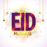 Groetkaart met Gloeiende Teksten voor Eid Royalty-vrije Stock Foto
