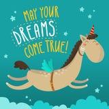 Groetkaart met grappig vliegend paard Royalty-vrije Stock Fotografie