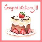Groetkaart met hand-drawn cake Royalty-vrije Stock Foto