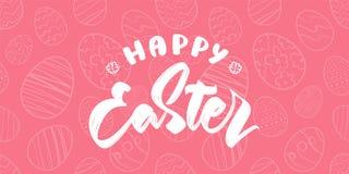 Groetkaart met hand getrokken eieren, het met de hand geschreven type van letters voorzien van Gelukkige Pasen stock illustratie