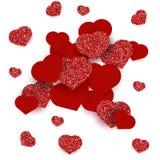 Groetkaart met harten voor de Gelukkige Dag van Valentine ` s Het rood schittert effect Royalty-vrije Stock Fotografie
