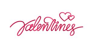 Groetkaart met het met de hand geschreven 3d lijntype van letters voorzien van de Dag van Valentine ` s Royalty-vrije Stock Afbeeldingen