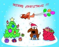 Groetkaart met Kerstmis Stock Fotografie