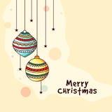 Groetkaart met Kerstmisballen voor Kerstmis Stock Afbeeldingen