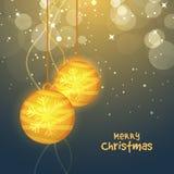 Groetkaart met Kerstmisballen voor Kerstmis Stock Afbeelding