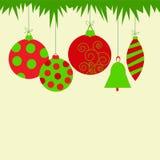 Groetkaart met Kerstmisspeelgoed Stock Fotografie