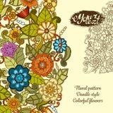 Groetkaart met kleurrijke krabbelbloemen Stock Foto