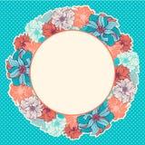 Groetkaart met kroon van hand-drawn bloemen vector illustratie