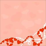 Groetkaart met liefdeharten op roze achtergrond royalty-vrije illustratie
