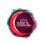 Groetkaart met maan voor Eid-viering Royalty-vrije Stock Afbeelding