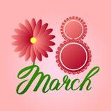 Groetkaart met 8 Maart rode bloemen rond acht Stock Foto