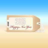 Groetkaart met nieuw jaar 2015 op het prijskaartje Stock Afbeelding
