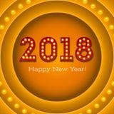 Groetkaart met nieuwe komende 2018 op retro banner met gloeilampen De tekst in de stijl van Amerikaans casino met vector illustratie