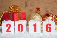 Groetkaart met Nieuwjaargiften Royalty-vrije Stock Foto