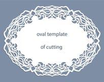 Groetkaart met openwork ovale grens, document doily onder de cake, malplaatje Stock Foto