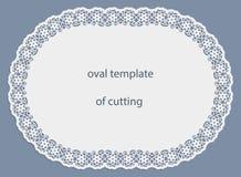 Groetkaart met openwork ovale grens, document doily onder de cake, malplaatje voor knipsel, huwelijksuitnodiging, decoratieve pla Stock Afbeeldingen