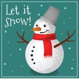 Groetkaart met sneeuwman royalty-vrije stock afbeeldingen