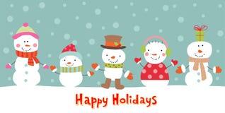 Groetkaart met sneeuwman, vectorillustratie Royalty-vrije Stock Afbeeldingen
