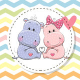 Groetkaart met Twee leuke Hippos vector illustratie