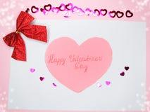 Groetkaart met van de de valentijnskaart` s dag van het confettienkader de liefdeconcept B Stock Afbeeldingen
