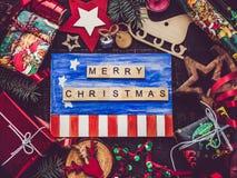 Groetkaart met van van het de Vlagtekening, Nieuwjaar en Kerstmis van de V.S. decoratie royalty-vrije stock afbeelding