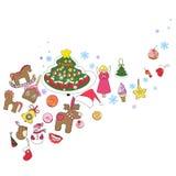 Groetkaart, nieuwe jaar en Kerstmis stock illustratie