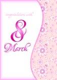 Groetkaart op roze bloemenpatroon voor de Dag van Internationale Vrouwen 8 maart Royalty-vrije Stock Foto