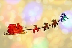Groetkaart Santa Claus sleight Stock Afbeelding