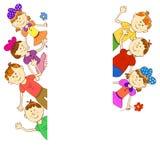 Groetkaart, uitnodiging, banner Kader voor uw tekst met kinderen Stock Foto