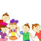 Groetkaart, uitnodiging, banner Kader voor uw tekst met kinderen Stock Fotografie