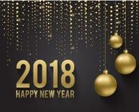 Groetkaart, uitnodiging met gelukkig Nieuw jaar 2018 en Kerstmis Metaal gouden Kerstmisballen, decoratie, het flikkeren vector illustratie