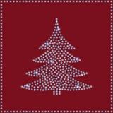 Groetkaart van Diamond Christmas Tree Stock Afbeeldingen
