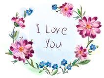 Groetkaart van een boeket van bloemen Royalty-vrije Stock Foto's