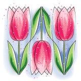 Groetkaart van gestileerde tulpen op een blauwe achtergrond stock illustratie