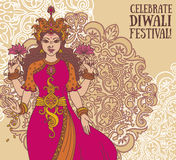 Groetkaart voor diwalifestival met Indische godin Lakshmi en koninklijk ornament Stock Afbeelding